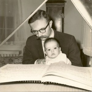 dad and me at harpsichord in Hamden
